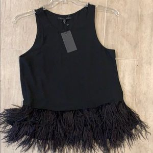 NWT black blouse top with ostrich feathers